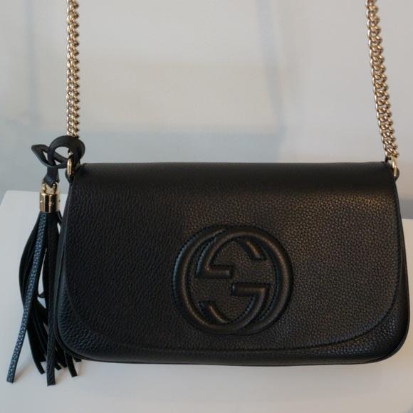3ef3255d02b Gucci Soho Black Leather Chain Crossbody Bag